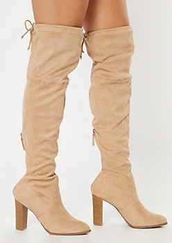 Taupe Over The Knee Cinched Stacked Heel Boots