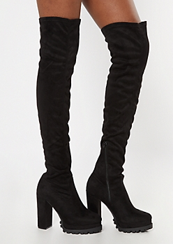 Black Over The Knee Lug Sole Boots