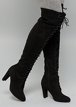 Black Lace Up Over The Knee Heeled Boots