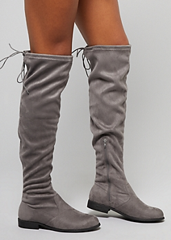Gray Faux Suede Over The Knee Flat Boots