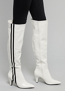 White Side Striped Over The Knee Heeled Boots