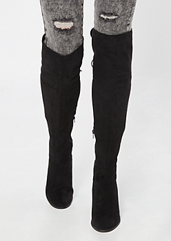 Black Faux Suede Tie Back Over The Knee Boots