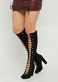 Black Lace Up Faux Suede Block Heel Boots