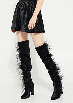 Black Velvet Over The Knee Feathered Boots