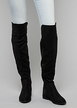 Black Mixed Material Over The Knee Boots