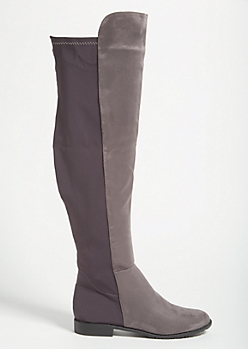 Gray Faux Suede Scuba Back Over The Knee Boots
