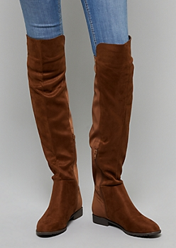 Brown Mixed Material Over The Knee Boots