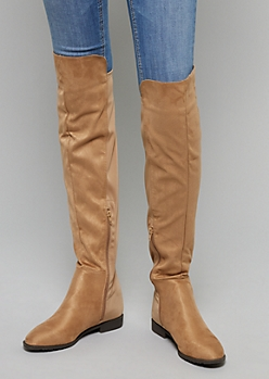 Tan Mixed Material Over The Knee Boots