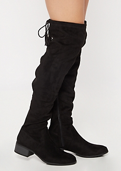 Black Tie Tassel Over The Knee Boots