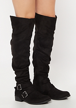 Black Buckle Studded Over The Knee Boots