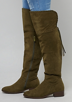Olive Pointelle Over The Knee Flat Boots