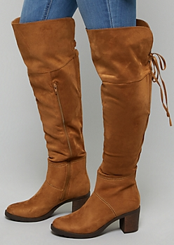 Cognac Faux Suede Over The Knee Heeled Boots