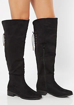 Black Lace Up Back Over The Knee Boots