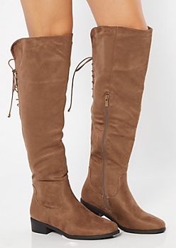 Brown Lace Up Back Knee High Boots