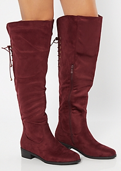 Burgundy Lace Up Back Knee High Boots