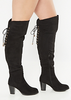 Black Over The Knee Lace Up Heeled Boots