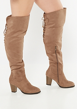 Taupe Over The Knee Lace Up Heeled Boots