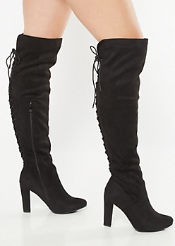 Black Full Lace Up Over The Knee Heeled Boots