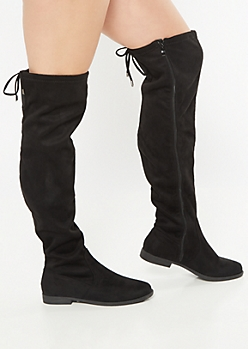 Black Tie Back Over The Knee Boots