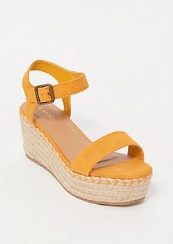 Mustard Espadrille Platform Sandals