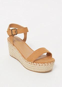Tan Espadrille Platform Sandals