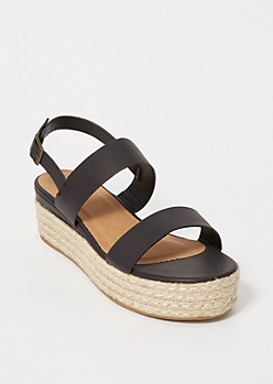 Black Espadrille Double Slingback Sandals
