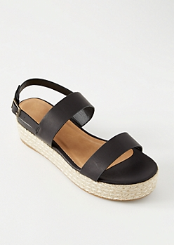 Black Double Strap Ankle Espadrille Platform Sandals