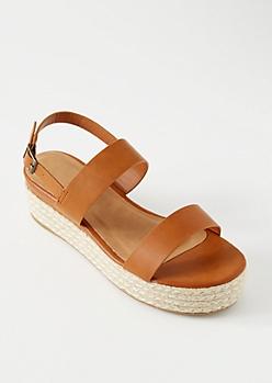 Cognac Double Strap Ankle Espadrille Platform Sandals