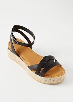 Black Knot Ankle Espadrille Platform Sandals