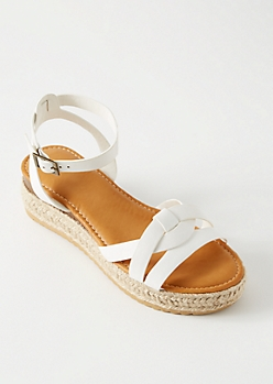 White Knot Ankle Espadrille Platform Sandals