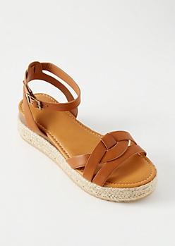 Cognac Knot Ankle Espadrille Platform Sandals