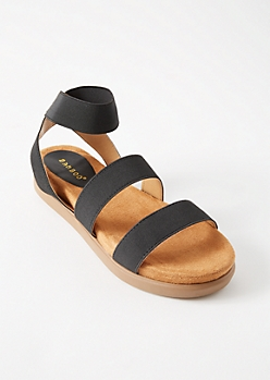 Black Elastic Platform Ankle Sandals
