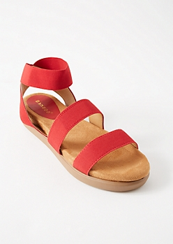 Red Elastic Platform Ankle Sandals