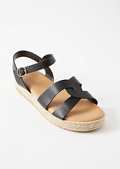 Black Twist Strap Espadrille Platforms Sandals