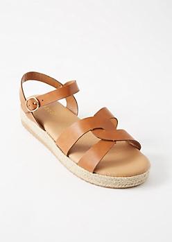 Cognac Twist Strap Espadrille Platforms Sandals