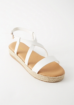 White Crisscross Espadrille Platforms Sandals