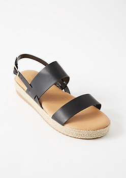 Black Double Strap Espadrille Platforms Sandals