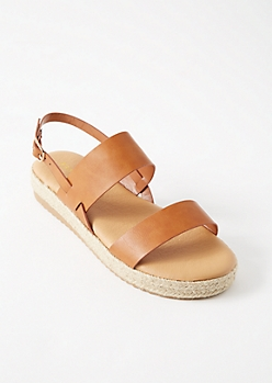 Cognac Double Strap Espadrille Platforms Sandals