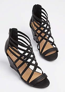 Black Strappy Stacked Wedge Heels