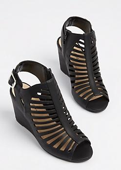Black Cutout Wedge Heels