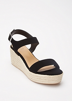 Black Espadrille Platform Wedge Sandals