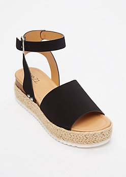 Black Strappy Espadrille Flatforms