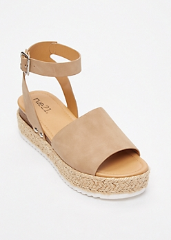 Tan Strappy Espadrille Flatforms