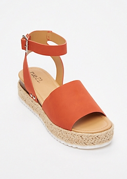 Burnt Orange Strappy Espadrille Flatforms