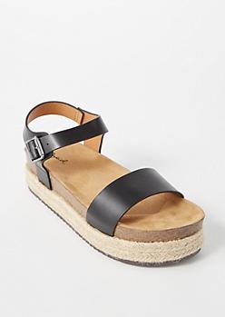Black Single Strap Platform Sandals