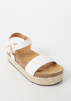 White Single Strap Platform Sandals