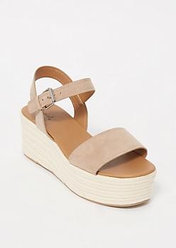 Taupe Espadrille Platform Sandals