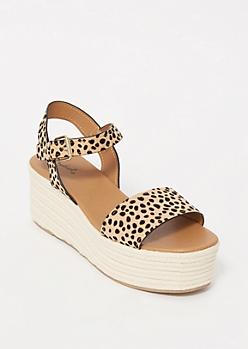 Leopard Print Espadrille Platform Sandals