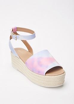 Pink Tie Dye Flatform Espadrille Sandals