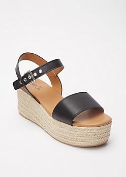 Black Grommet Buckle Espadrille Flatform Sandals